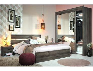 Schlafzimmer Galeno 305 Walnuss 4-teilig Doppelbett 2x Nako Schrank