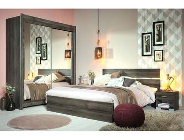 Schlafzimmer Galeno 306 Walnuss 4-teilig Doppelbett 2x Nako Schrank