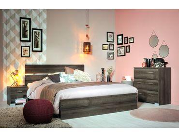 Schlafzimmer Galeno 307 Walnuss 4-teilig Bett 2x Nako Kommode