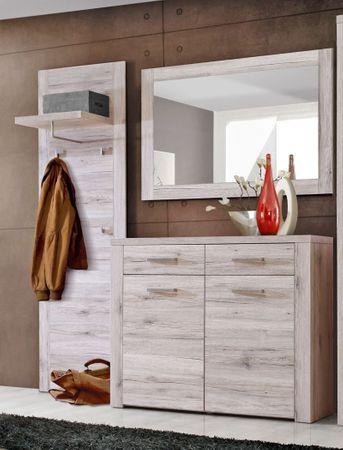 Garderobe Phil Sandeiche 3-teilig Wandpaneel Schuhschrank Wandspiegel