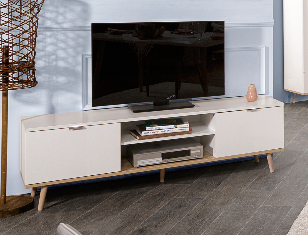 Tv Board Malmo 55 Weiss Sonoma Eiche 160x50x40 Cm Lowboard Tv
