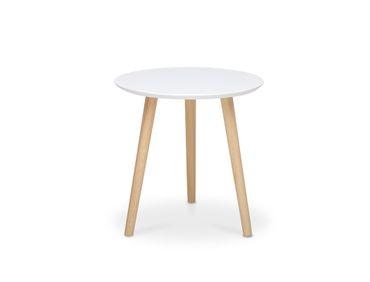 Couchtisch Visby 2 rund 40x40 weiß Beine Pinie massiv Sofatisch Tisch