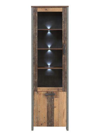 Vitrine Cedric 11 Vintage braun 62x205x42 cm Glasvitrine mit LED