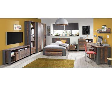 Jugendzimmer Cedric 60 Vintage braun 8-teilig Schlafzimmer Bett Nako