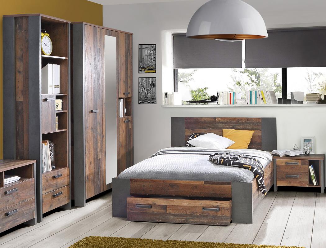 Details zu Jugendzimmer Cedric 66 Vintage braun 4-teilig Schlafzimmer Bett  Nako Schrank