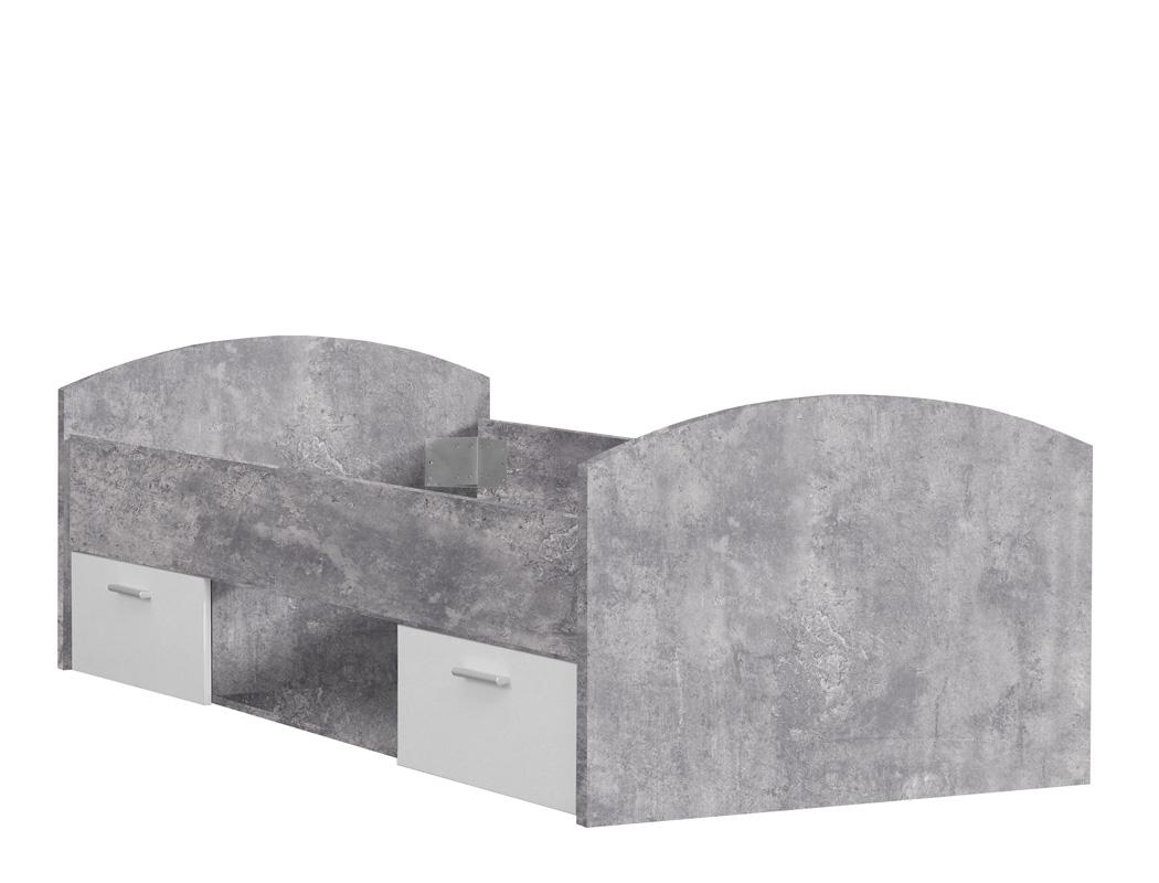 jugendbett wisal 1 betonoptik wei bett 90x200 cm. Black Bedroom Furniture Sets. Home Design Ideas
