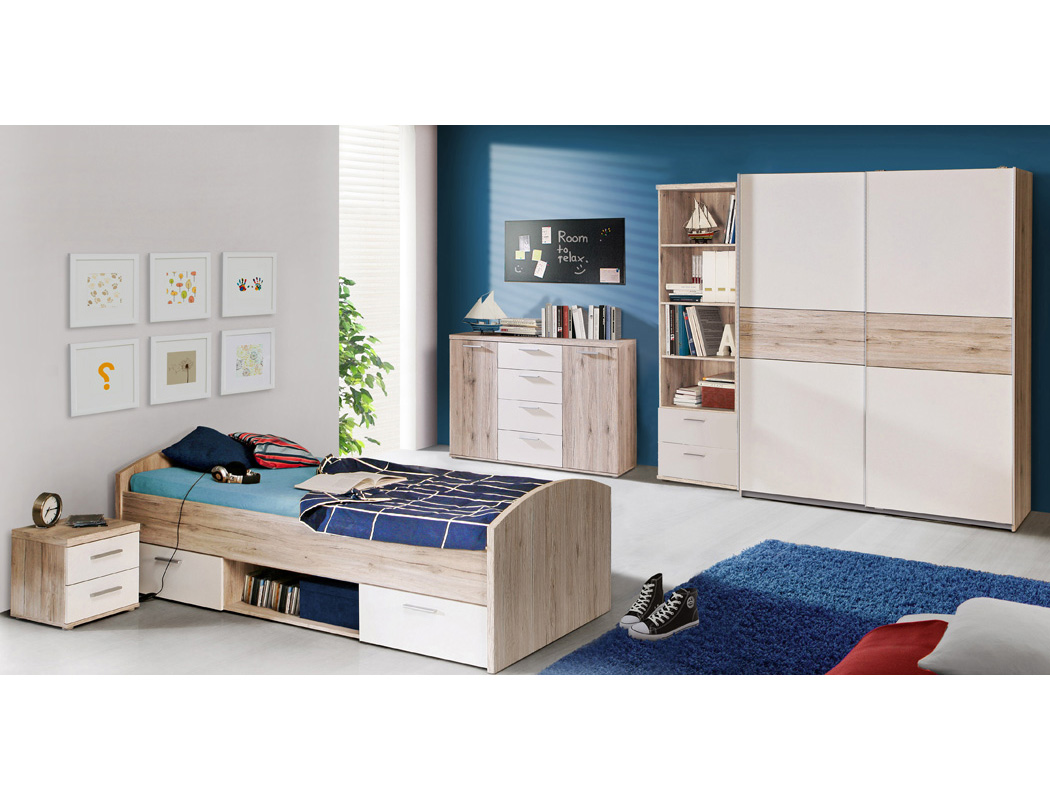 jugendbett wisal 46 sandeiche wei 90x200 cm mit nachttisch kinderbett wohnbereiche kinder. Black Bedroom Furniture Sets. Home Design Ideas