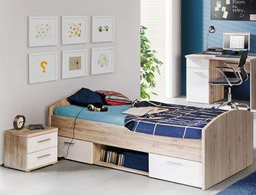Jugendbett Wisal 46 Sandeiche weiß 90x200 cm mit Nachttisch Kinderbett