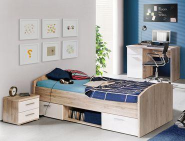 Jugendzimmer Wisal 43 Sandeiche weiß 3-teilig Kinderzimmer Bett Nako