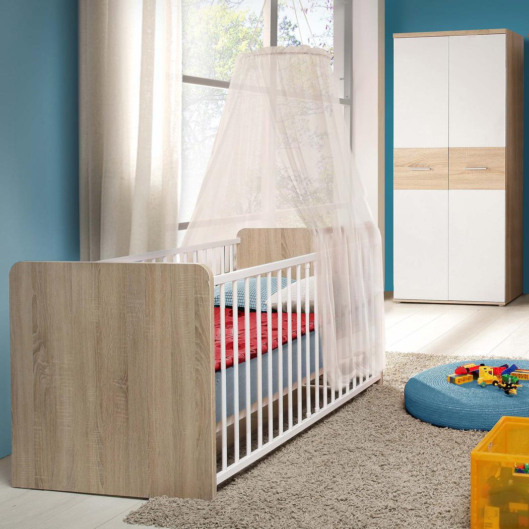 Babyzimmer Wisal 82 Sonoma Eiche Weiß 2-teilig Babybett