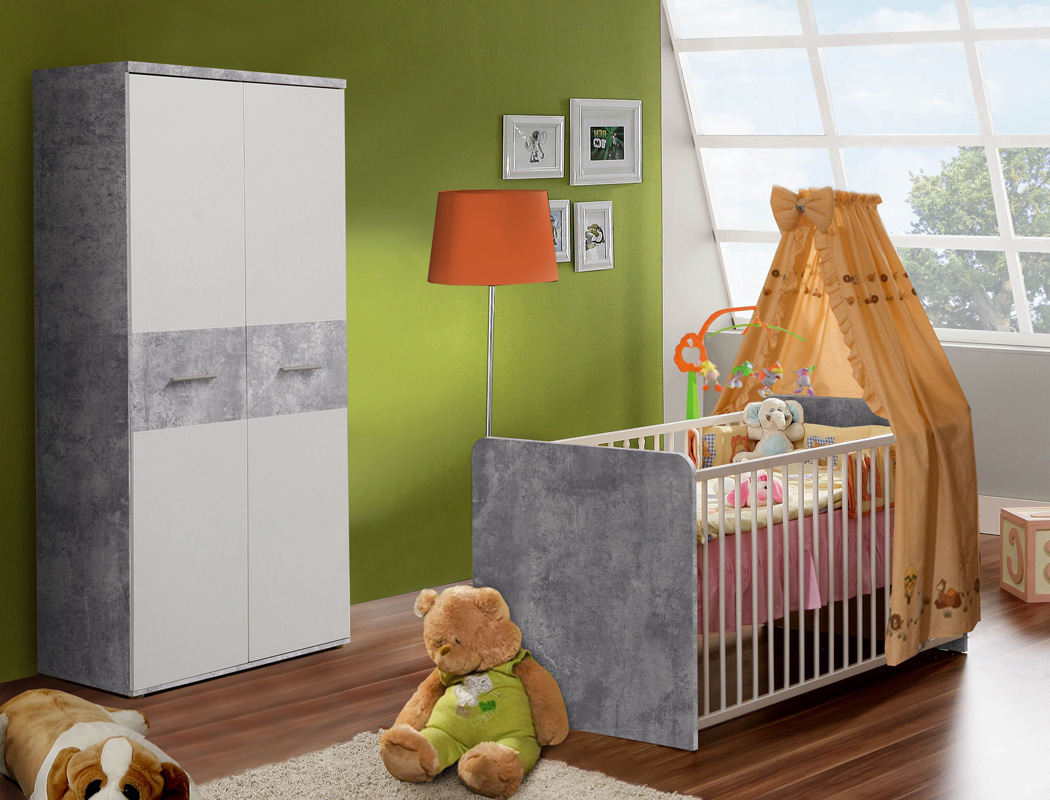 babyzimmer wisal 32 betonoptik wei 2 teilig babybett kleiderschrank wohnbereiche kinder. Black Bedroom Furniture Sets. Home Design Ideas