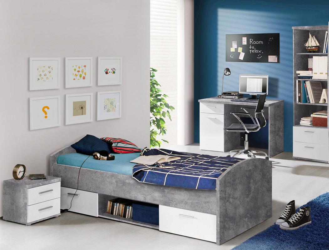 Jugendzimmer Wisal 21 Betonoptik Weiss 4 Teilig Kinderzimmer Bett
