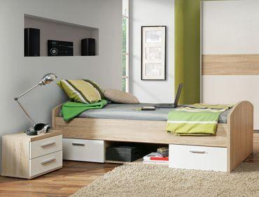 Jugendbett Wisal 70 Sonoma Eiche weiß 90x200 cm Nachttisch Kinderbett