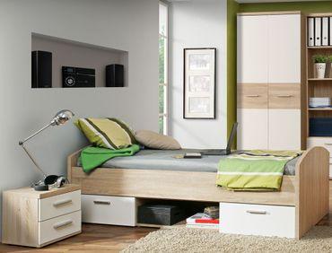Jugendzimmer Wisal 63 Sonoma Eiche weiß 3-teilig Kinderzimmer Bett