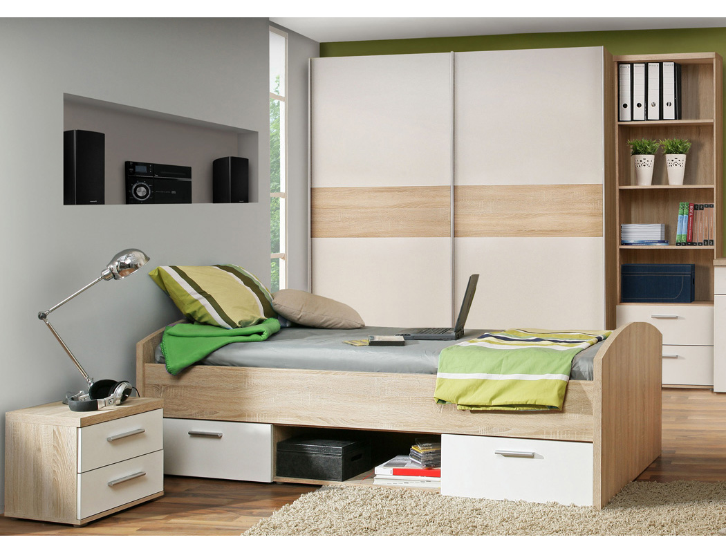 jugendzimmer wisal 66 sonoma eiche wei 4 teilig kinderzimmer bett wohnbereiche kinder. Black Bedroom Furniture Sets. Home Design Ideas