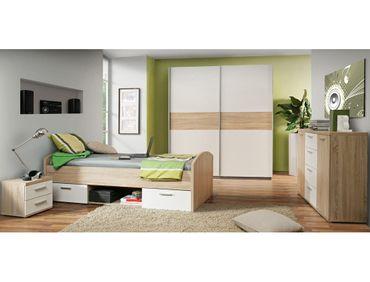 Jugendzimmer Wisal 67 Sonoma Eiche weiß 4-teilig Kinderzimmer Bett