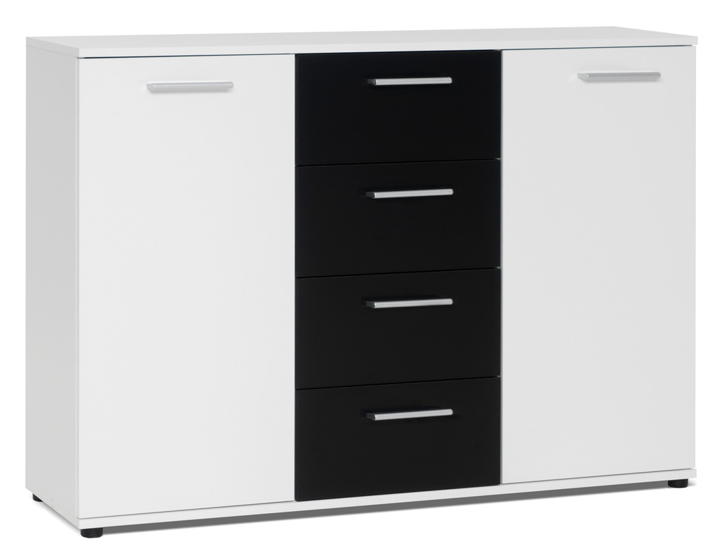 kommode jule 2 wei schwarz 120x85x35cm sideboard. Black Bedroom Furniture Sets. Home Design Ideas