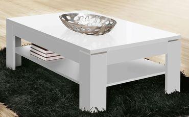 Couchtisch Stana Hochglanz weiß 120x75x43 cm Wohnzimmertisch Tisch