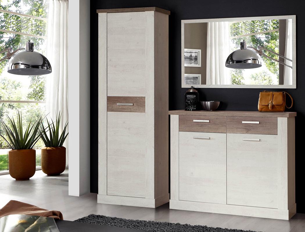 Garderobe Durio 65 Pinie Weiß 3 Teilig Schrank Schuhschrank Spiegel
