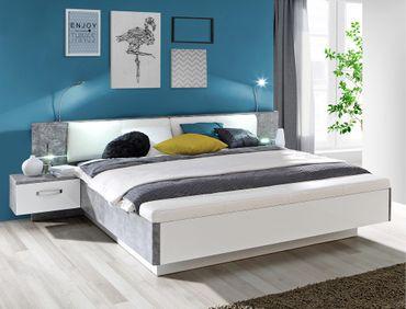 Doppelbett Rubio 31 Betonoptik weiß Bett 180x200 mit 2x Nachtkonsole