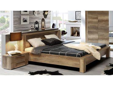 Doppelbett Calvin 93 Eiche Antik Bett 180x200 2x Nachttisch Ehebett
