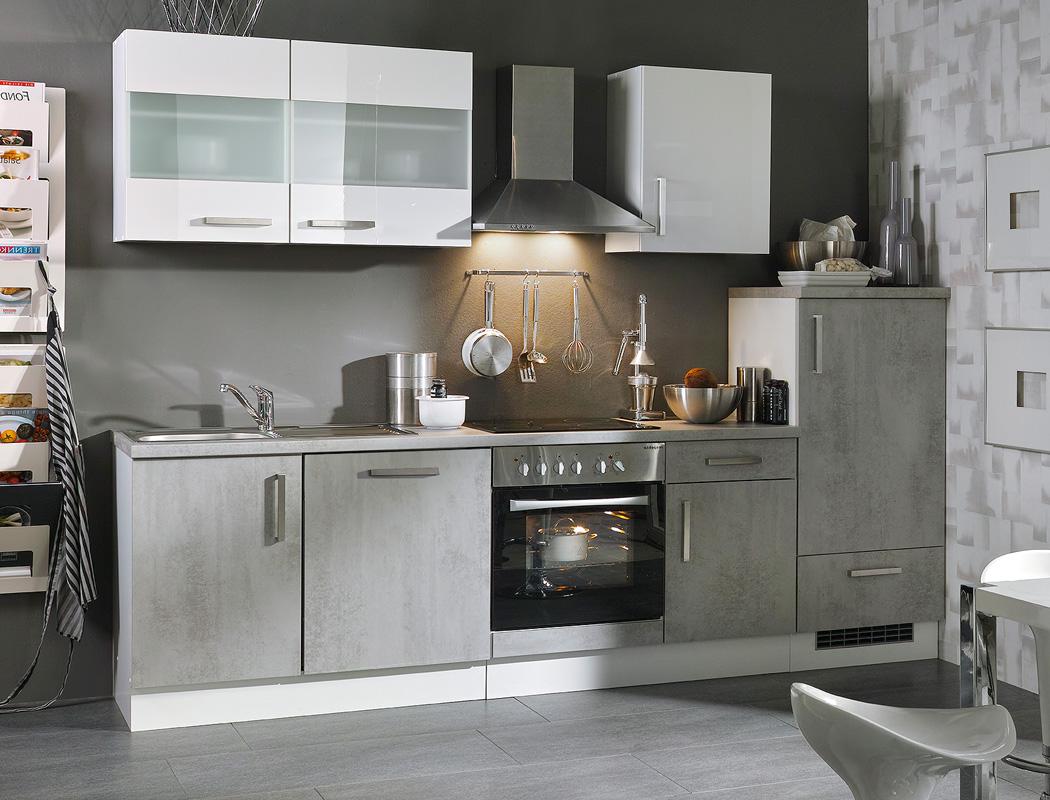Küchenblock Maika Betonoptik weiß Hochglanz 280 cm mit E ...