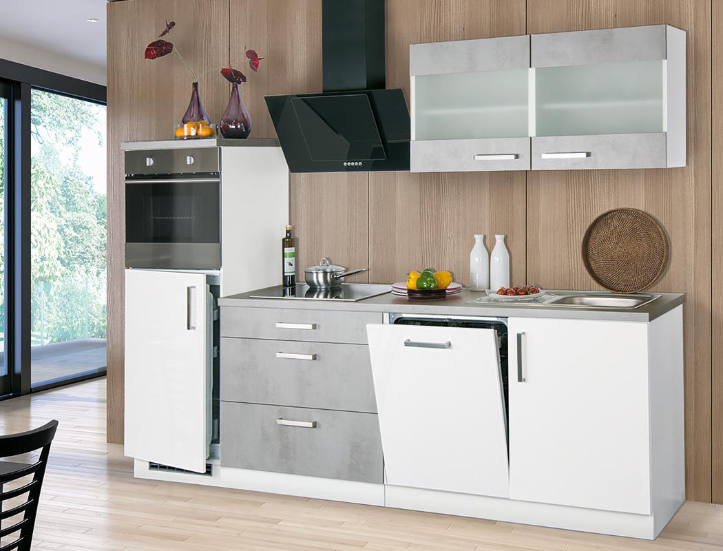küchenblock 270 cm mit egeräten komplett betonoptik weiß