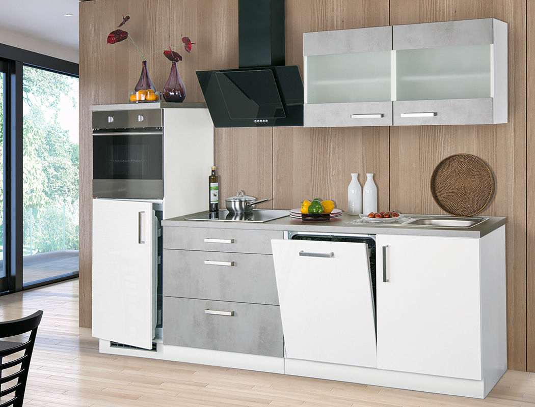 Küchenblock Malea Betonoptik weiß Hochglanz 270 cm mit E ...