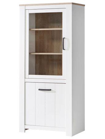Vitrine Eike 3 weiß Eiche Bianco 77x186x43 cm Glasvitrine Wohnzimmer