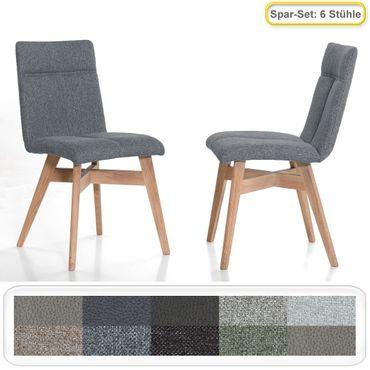 6x Stuhl Aranel mit Schwingrücken Polsterstuhl Esszimmerstuhl Massivholz