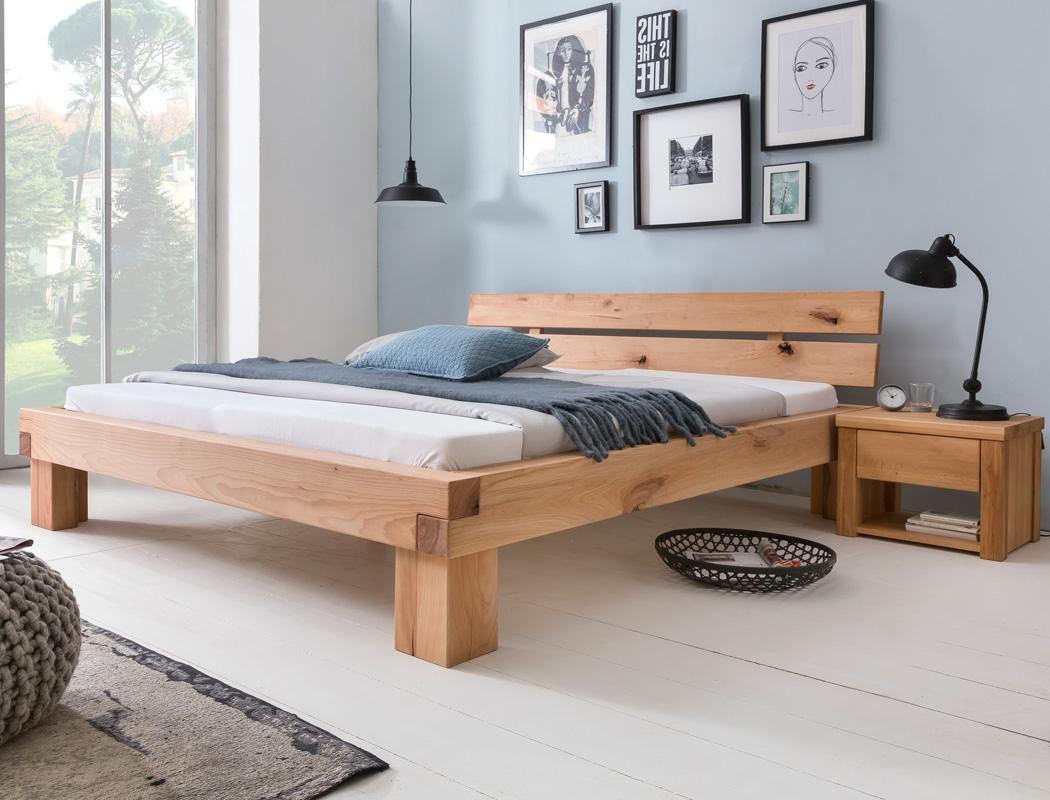 Balkenbett Tamme + Nachttisch Wildbuche geölt Größe nach Wahl Bett