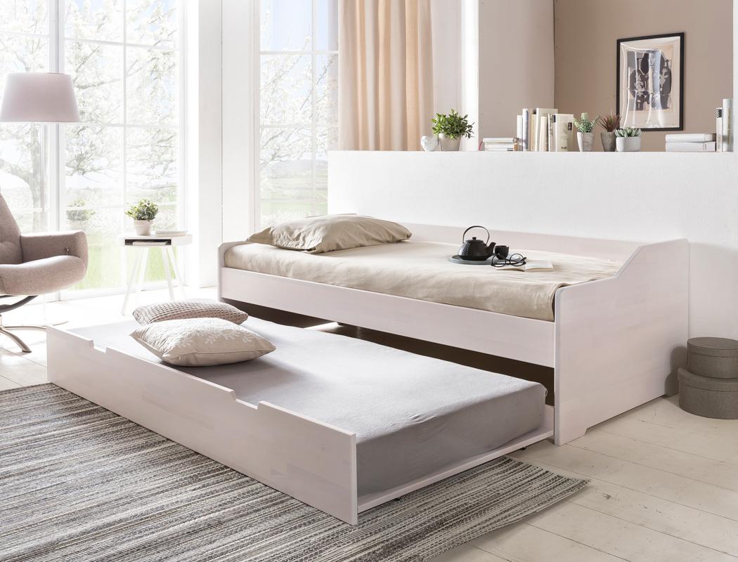 jugendbett leyla 90x200 kernbuche wei kojenbett. Black Bedroom Furniture Sets. Home Design Ideas