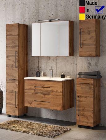 Badezimmer Tessin 10 Wotan Eiche 5-teilig Waschtisch Spiegelschrank