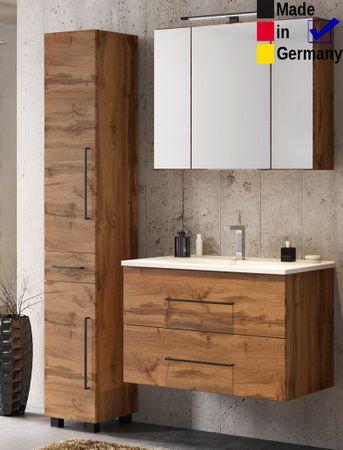 Badezimmer Tessin 12 Wotan Eiche 3-teilig Waschtisch Spiegelschrank