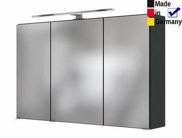 3D Spiegelschrank Britt 8 dunkelgrau 100x66x20 cm Badspiegel LED