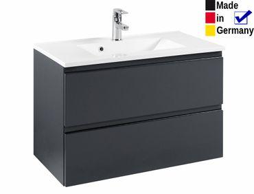 Waschtisch mit Becken Newport 11 Hochglanz grau 80x56x47 cm Waschplatz