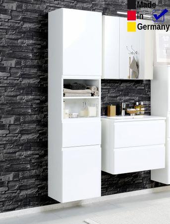 Badezimmer Newport 21 Hochglanz weiß 3-teilig 3D Spiegelschrank LED
