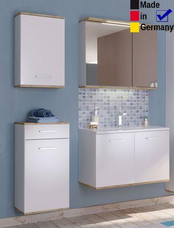Badezimmer Lutz 11 weiß Buche 4-teilig Waschtisch Spiegelschrank LED