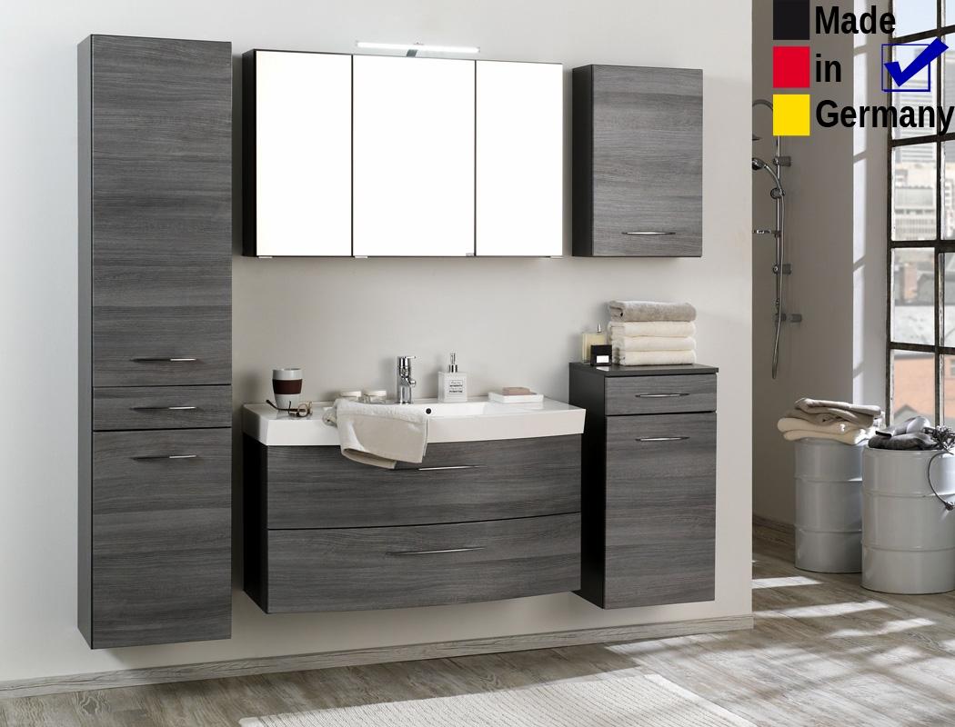 Badezimmer Fiona 20 Eiche Rauchsilber 5 Teilig Waschtisch 3d Spiegel