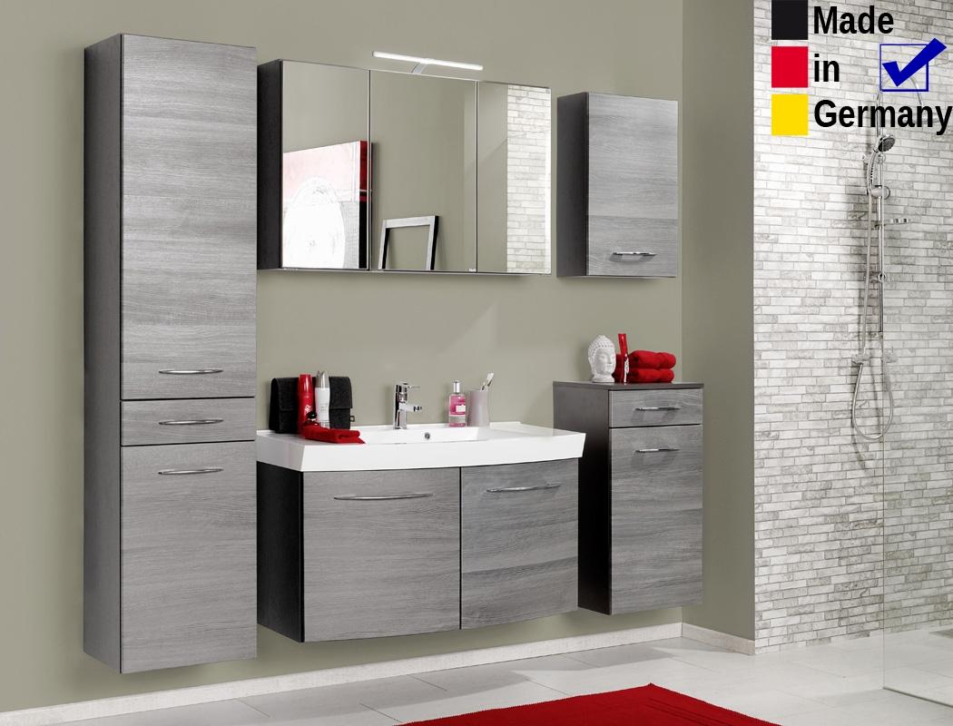 Badezimmer Fiona 25 Eiche Rauchsilber 5 Teilig Waschtisch 3d Spiegel