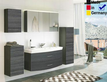 Badezimmer Fiona 27 Eiche Rauchsilber 5-teilig Waschtisch 3D Spiegel
