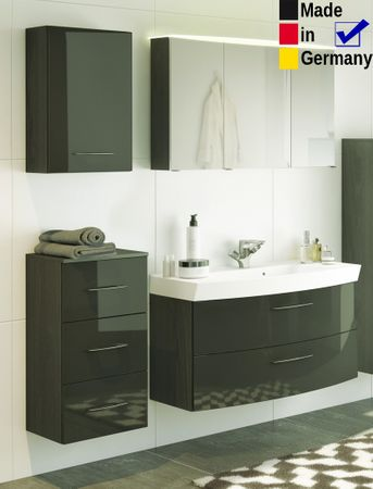 Badezimmer Fiona 57 Hochglanz grau 4-teilig Waschtisch 3D Spiegel