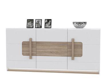 Sideboard Aubry 2 Hochglanz weiß 195x91x42 cm Anrichte LED Schrank