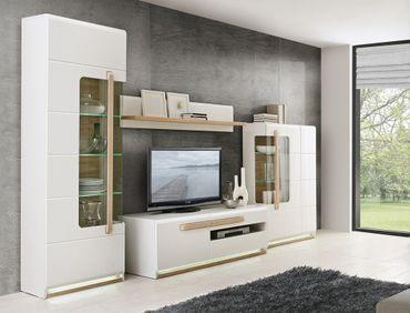 Wohnwand Aubry 20 Hochglanz weiß 4-teilig 2x Vitrine Lowboard LED