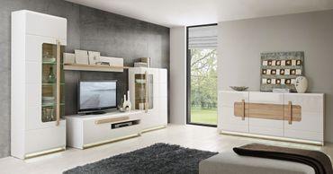 Wohnzimmer Aubry 30 Hochglanz weiß 5-teilig Wohnwand Sideboard LED