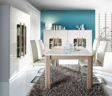Esszimmer Aubry 42 Hochglanz weiß 4-teilig Speisezimmer LED Esstisch