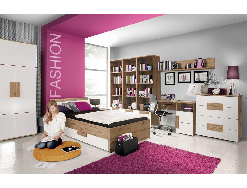 Jugendzimmer Aachen 22 weiß 9-teilig Kinderzimmer Bett Kleiderschrank