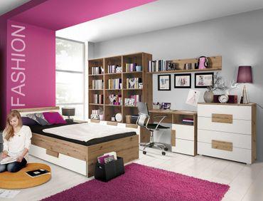 Jugendzimmer Aachen 23 weiß 8-teilig Kinderzimmer Bett Regal Kommode