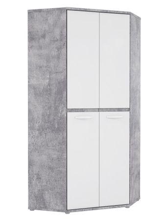 Eck-Kleiderschrank Coburg 6 Betonoptik weiß 92x202x92 cm Schrank