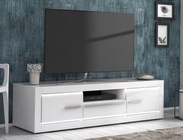 Lowboard Livorno 6 Hochglanz weiß 158x44x52 cm LED TV-Board TV-Schrank